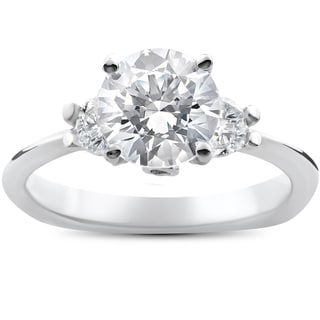 14k White Gold 1 3/8ct TDW Diamond Three Stone Round Brilliant Cut Engagement Ring (I-J, I1-2)