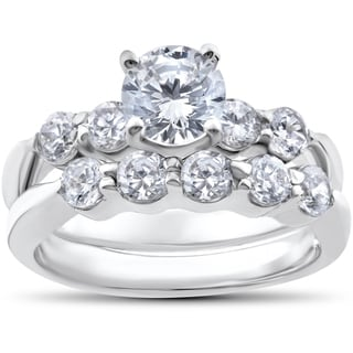 14k White Gold 2 1/4ct TDW Diamond Clarity Enhanced Wedding Engagement Ring Set (I-J,I2-I3)