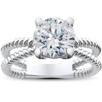 14k White Gold 1 1/2ct TDW Diamond Clarity Enhanced Solitaire Round Brilliant Cut Braided Engagement Ring (H-I, I1-I2)