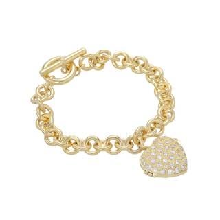 Cubic Zirconia Goldplated 7-inch Silver Heart Bracelet