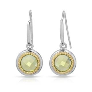 Gold over Silver 1 1/2ct TW Peridot Earrings