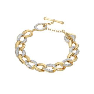 Cubic Zirconia Goldplated Silver 8-inch Bracelet