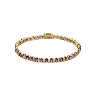 10.00 CTW Sapphire Goldplated Silver Tennis Bracelet