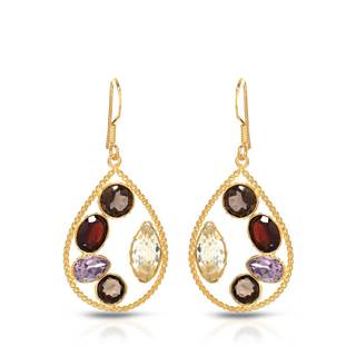 Gold over Silver 11 3/4ct TGW Amethyst Earrings