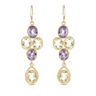 Gold over Silver 16 1/6ct TW Amethyst Earrings