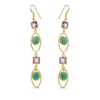 Gold over Silver 13 3/4ct TW Amethyst Earrings