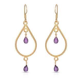 Gold over Silver 3 7/8ct TW Amethyst Earrings