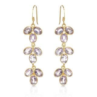 Gold over Silver 13 5/8ct TW Amethyst Earrings