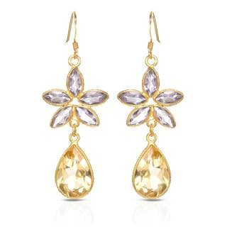 Gold over Silver 15ct TW Amethyst Earrings