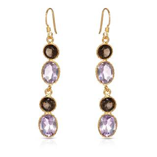 Gold over Silver 9 2/5ct TW Amethyst Earrings