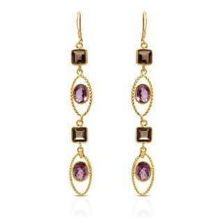 Gold over Silver 12 2/5ct TW Amethyst Earrings