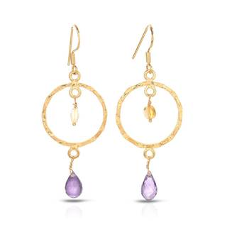 Gold over Silver 5 1/5ct TW Amethyst Earrings