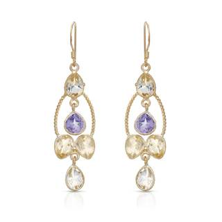 Gold over Silver 9 1/5ct TW Amethyst Earrings