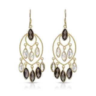 Gold over Silver 22 1/4ct TW Quartz Earrings