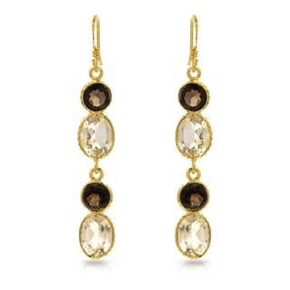 Gold over Silver 9 1/3ct TW Quartz Earrings