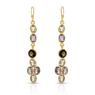 Gold over Silver 6 7/8ct TW Amethyst Earrings