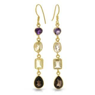 Gold over Silver 10 1/6ct TW Amethyst Earrings