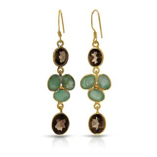 Goldplated Silver 10 1/2ct TW Emerald Earrings