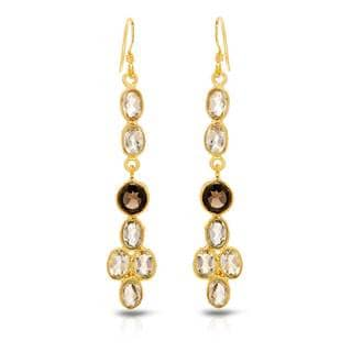 Gold over Silver 6 5/8ct TW Quartz Earrings