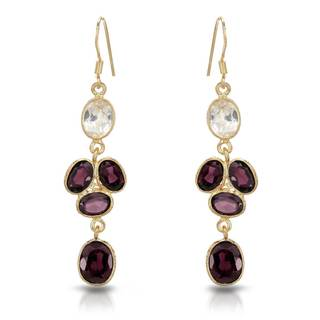Gold over Silver 13 1/2ct TW Garnet Earrings