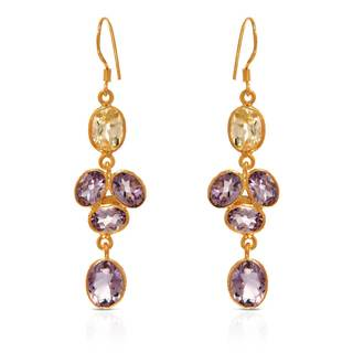 Gold over Silver 10 1/10ct TW Amethyst Earrings