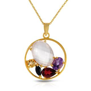 Gold over Silver 11.46ct TW Amethyst Necklace