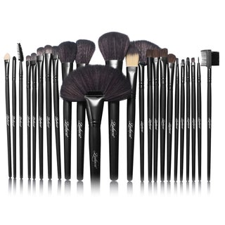 Zodaca Black Soft Synthetic Hair Cosmetic Makeup Brush Set with Leather Pouch Bag (Set of 24)
