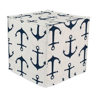 Anchors Premier/ Navy Slub 17-inch Square Seamed Foam Ottoman