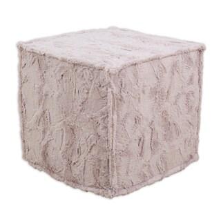 Luxe Blush 17-inch Square Seamed Foam Ottoman
