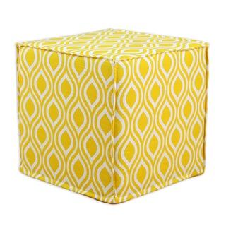 Nichole Corn Yellow 12.5-inch Square Seamed Foam Ottoman