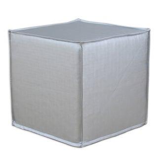 Shimmer Silver 12.5-inch Square Seamed Foam Ottoman