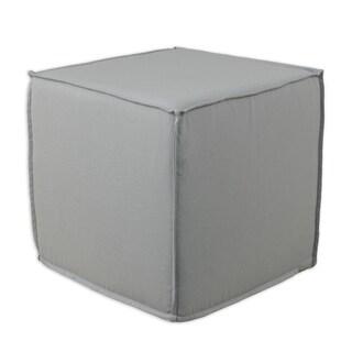Solid Storm Grey 12.5-inch Square Seamed Foam Ottoman