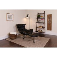Leather Cocoon Chair with Ottoman