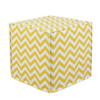Zig Zag Corn Yellow 12.5-inch Square Seamed Foam Ottoman
