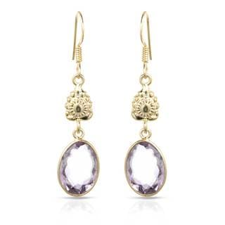 Gold over Silver 11 1/5ct TW Amethyst Earrings
