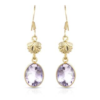 Gold over Silver 6 3/4ct TW Amethyst Earrings