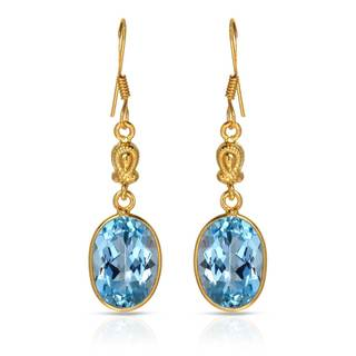 Gold over Silver 13ct TW Topaz Earrings