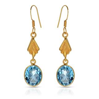 Gold over Silver 11 1/4ct TW Topaz Earrings