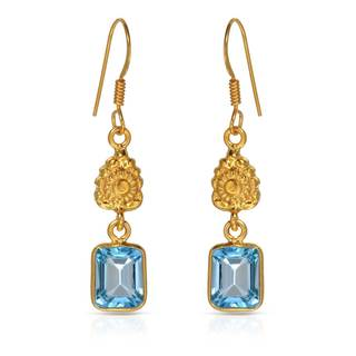 Gold over Silver 4 1/2ct TW Topaz Earrings