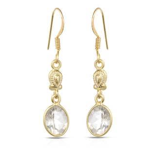 Gold over Silver 3 1/2ct TW Quartz Earrings