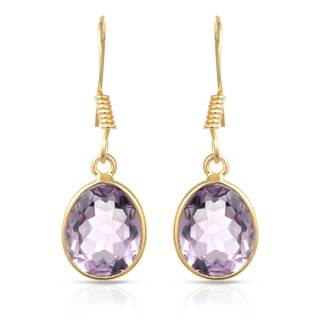 Gold over Silver 3 3/4ct TW Amethyst Earrings