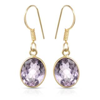 Gold over Silver 5 1/2ct TW Amethyst Earrings