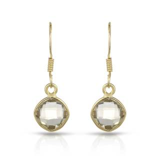 Gold over Silver 3 1/8ct TW Quartz Earrings