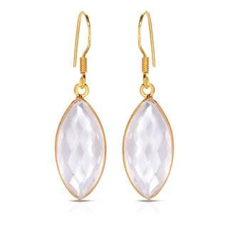Gold over Silver 12 7/8ct TW Quartz Earrings