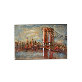 'Brooklyn Bridge' Multicolor Metal Modern Home Decor Wall Sculpture