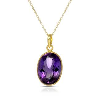 Gold over Silver 11 1/3ct TW Amethyst Necklace