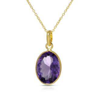Gold over Silver 8 3/5ct TW Amethyst Necklace