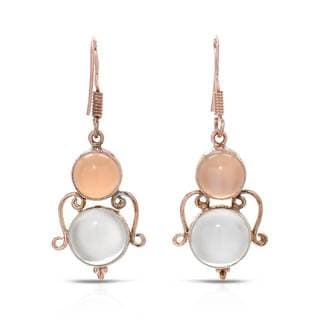 Gold over Silver 12 4/5ct TW Moonstone Earrings
