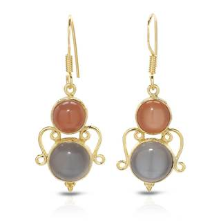 Gold over Silver 12 3/5ct TW Moonstone Earrings