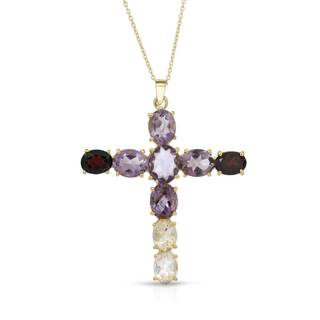 Gold over Silver 19ct TW Amethyst Cross Necklace